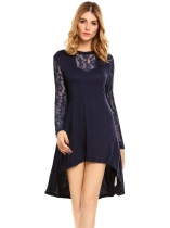 Navy blue Sexy Floral Lace Long Sleeve Asymmetrical Swing Dress