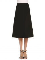 Black Solid High Waist Double Layers Button Skirt