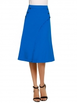 Blue Solid High Waist Double Layers Button Skirt