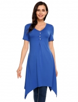 Blue V-Neck Short Sleeve Solid Asymmetry Hem Button Tops