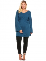 Blue Plus Size V-Neck Flare Sleeve Solid Tops