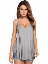 Grey Double Strap V-neck Casual Solid Flow Cami Top
