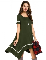 Army green O-Neck Short Sleeve Asymmetrical Hem Dress