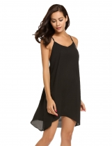 Black Spaghetti Strap Sleeveless Solid Dress