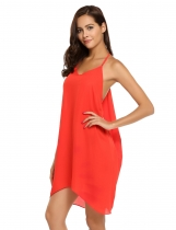 Orange Spaghetti Strap Sleeveless Solid Dress
