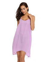 Purple Spaghetti Strap Sleeveless Solid Dress