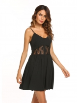 Black Spaghetti Strap Sleeveless Lace Patchwork Dress