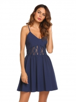 Royal Blue Spaghetti Strap Sleeveless Lace Patchwork Dress
