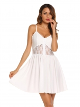 White Spaghetti Strap Sleeveless Lace Patchwork Dress