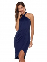 Dark blue Halter Sleeveless Asymmetry Ruched Slim Pencil Dress
