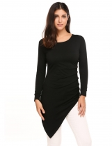 Black Irregular Ruched Long Sleeve Button Solid T Shirts