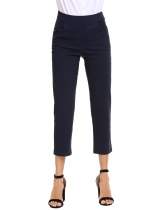 Dark blue High Waist Stretchy Solid Relaxed Fit Ankle Pants with Pocket