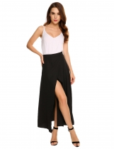 Black Solid High Waist Double Layer Split Chiffon Maxi Skirt