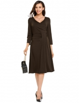 Coffee Casual Wrap Front Cross V Neck 3/4 Sleeve Solid Slim Dress