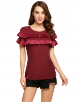 Wine red Ruffles O-Neck Short Sleeve Solid Tops