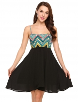 Black Spaghetti Strap Tribal Print Swing Chiffon Short Dress