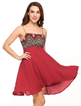 Wine red Spaghetti Strap Tribal Print Swing Chiffon Short Dress