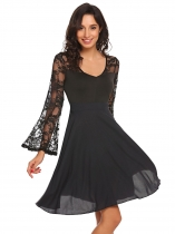 Black Mujeres Estilo Vintage V cuello Hollow Lace Flare manga larga Swing Cocktail Dress
