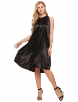 Black Glitter Sleeveless Solid Stain Shift Dress