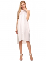 White Glitter Sleeveless Solid Stain Shift Dress