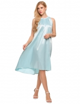 Light blue Glitter Sleeveless Solid Stain Shift Dress