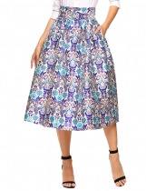 Blue Vintage Style High Waist Print Bubble Midi Skirt with Pocket
