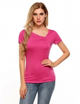 Rose red Asymmetry V-Neck Short Sleeve Basic Solid Tops