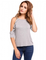 Grey Solid Cold Shoulder Ruffle 3/4 Sleeve Loose Top