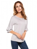 Grey Ruffle Sleeve Round Hemline Solid Loose Pullover T-Shirt