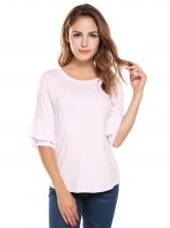 White Ruffle Sleeve Round Hemline Solid Loose Pullover T-Shirt