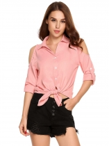 Pink Shirt Collar Long Sleeve Solid Button Cold Shoulder Shirt