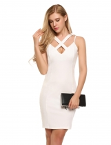 White Spaghetti Strap Sleeveless Solid Slim Pencil Dress