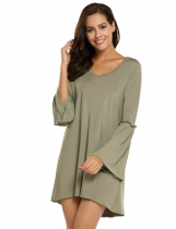 Army green Fashion V-Neck Long Sleeve Solid Mini Dress