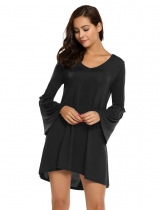 Black Fashion V-Neck Long Sleeve Solid Mini Dress