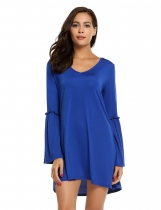 Royal Blue Fashion V-Neck Long Sleeve Solid Mini Dress
