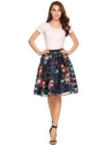 Dark blue Elastic High Waist Floral Patchwork Knee Bubble Skirt