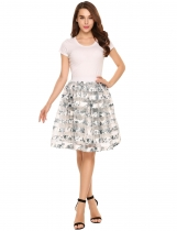 Light gray Elastic High Waist Floral Patchwork Knee Bubble Skirt