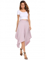Solid Asymmetric High Waist Elastic Waist Skirt