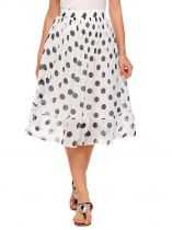 White Elastic Waist Polka Dot Chiffon Pleated Skirt