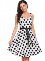 Black white Sleeveless Belt Dot V Neck A-line Dress