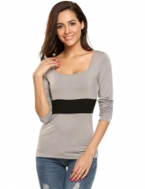 Grey Long Sleeve Patchwork Slim Square Neck Tops