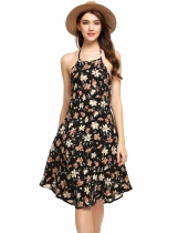 Noir Women Halter Backless Floral A-Line Robe courte