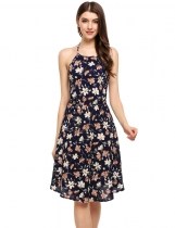 Navy blue Halter Backless Floral A-Line Short Dress