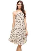 Beige Halter Backless Floral A-Line Short Dress