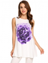 Purple Floral Print Sleeveless Stretchy Loose Fit Tank Tops