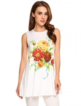 Yellow Floral Print Sleeveless Stretchy Loose Fit Tank Tops