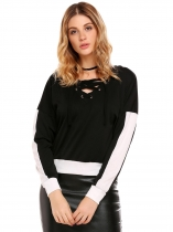 Black Contrast Color Hem Lace-up V Neck Hoodie