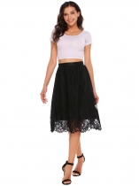 Black Mujeres Multilayer Alta Cintura Floral Lace Casual Faldas