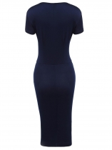 Navy blue Square Neck Short Sleeve Solid Ruched Pencil Dress