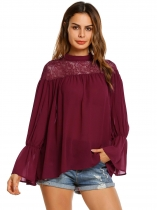 Wine red Flare Sleeve Chiffon Patchwork Loose Casual Tops